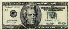 That's a 20 dollar bill, so memorize and put down the decimal point. The picture on the bill is of Andrew Jackson. He was our seventh President, so… Value Of E, Twenty Dollar Bill, 100 Dollar, Margaret Sanger, Legal Tender, Andrew Jackson, Knowing Your Worth, Extra Cash, Wicca