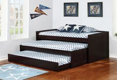 The Aaron Triple Daybed by Coaster Furniture features pine wood materials and cappuccino finish. Relocate each tier to complement any situation. A three compartment storage tray helps keep personal items close. Kids Bedroom Furniture, Cheap Furniture, Discount Furniture, Furniture Sets, Home Furniture, Furniture Design, Furniture Dolly, Children Furniture, Furniture Cleaning