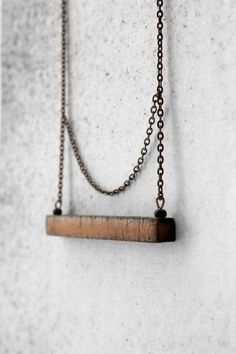 Unique minimal necklace for her brown polymer clay geometric pendant  Christmas gifts for woman jewelry by AnankeJewelry