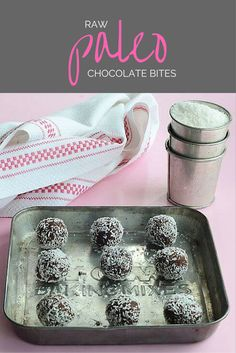 Paleo Raw Chocolate Bites use the leftover pulp from almond milk. With only 5 ingredients, this easy no-bake cookie recipe is perfect for summer. All you need is leftover almond pulp, dates, cacao, coconut, and salt.