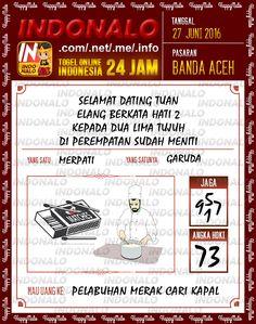 Prediksi Togel Online Live Draw 4D Indonalo Banda Aceh 27 Juni 2016