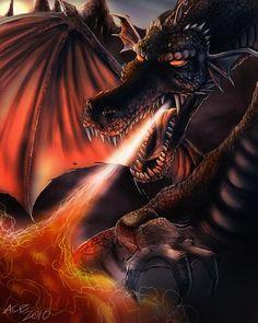 very scary dragon. Fire Dragon, Dragon Art, High Fantasy, Fantasy World, Fantasy Creatures, Mythical Creatures, Dragon Bold, Dragon Dreaming, Dragon Tales