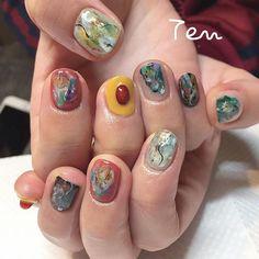 mynameiskana Uv Gel Nails, Nail Manicure, Ten Nails, Nail Oil, Trendy Nail Art, Super Nails, Beautiful Nail Art, Simple Nails, Love Nails