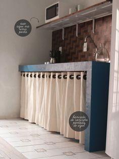 Cozinha sem armário...