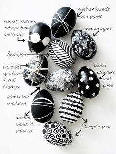 Bring Joy To Your Home With 19 Delicate Easter Crafts - Black and White Easter Eggs Hoppy Easter, Easter Bunny, Easter Eggs, Easter Table, Egg Crafts, Easter Crafts, Easter Decor, Easter Centerpiece, Bunny Crafts