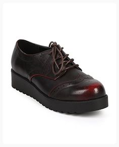 ad0d08af Wild Diva Women Leatherette Round Toe Wing Tip Creeper Brogue Oxford - Ox  Blood * Additional details at the pin image, click it : Oxford sneaker shoes