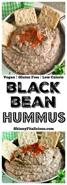 A Low Fat Spicy Black Bean Hummus Without Tahini lightened up by omitting the traditional ingredient without sacrificing taste. Pair with veggies & crackers for a healthy snack or spread on sandwich for extra protein & spice!