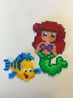Little Mermaid and Flounder    Hama/Perler Beads by GeekLoveBeading