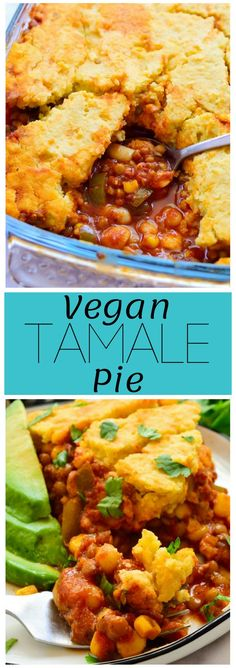 This vegan tamale pie is an easy recipe where anything goes. A mix of beans, lentils and vegetables make up the hearty base that's topped with a sweet vegan cornbread crust. This adaptable recipe is a great way to use up any random leftover veggies hanging out in the back of your fridge! via @cilantroandcitr Mexican Food Recipes, Mexican Dishes, Mexican Cooking, Veggie Recipes, Whole Food Recipes, Vegetarian Recipes, Jalapeno Recipes, Ethnic Recipes, Veggie Meals