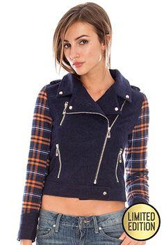 Goddiva Limited Edition  Contrast Check Sleeve Biker Jacket £40.00  #goddivafashion #limitededition