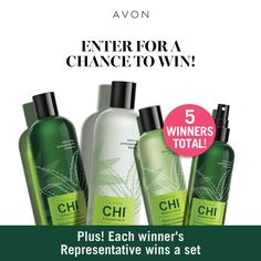 I just entered the Avon Chi Essentials Sweepstakes for a chance to win a set of Avon Chi Essentials: Replenishing Shampoo, Moisturizing Conditioner, Repairing Serum, and Thermal Protecting Spray - for me and a friend! Chi Hair Products, Avon Products, Beauty Products, Avon Sales, Avon Online, Online Deals, Avon Brochure, Lush Bath, The Face Shop