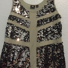 Gray tank with black and silver sequin Very comfy cool tank with sequins over mesh patches. Great for a summer night on the town! Rock & Republic Tops Tank Tops