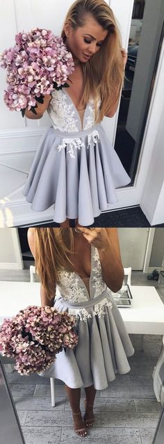 simple deep v neck short homecoming dresses, grey appliques short prom dresses, fashion short party dresses with pleats