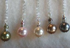 Wedding Party Jewelry bridal necklace Bridesmaids Gift Pearl Drop Necklace Earrings Chloe Pearl Set Free U.S Shipping. $18.00, via Etsy.