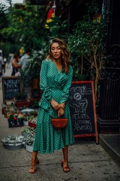 The Only 3 Wedding Guest Outfits You Need This Summer - Green Polka Dot Dress, Chloe Nile Bracelet bag, Block Heel Sandals, Summer Cocktail Dress // N. Sexy Dresses, Evening Dresses, Prom Dresses, Summer Dresses, Fashion Dresses, Long Dresses, Wedding Dresses, Lady Like, Cocktail Bridesmaid Dresses