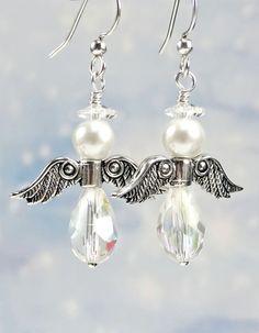 Christmas Angel Earrings White Pearls by PixieDustFineriesToo, $24.00
