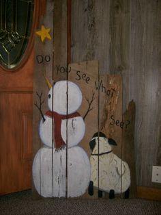 primitivesbarn woodhand painted snowman and sheepwith stardoor greeter. #JoyFields