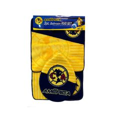 Decorate your bathroom and show your team pride with this Officially Licensed Club America Bathroom Rug set featuring extra soft carpet with vibrant . Club America, Baseball Gear, Star Wars, Bathroom Rug Sets, Poly Bags, Round Area Rugs, Toddler Toys, Vibrant Colors, All In One