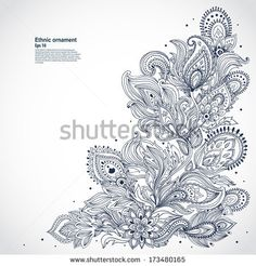 Beautiful floral paisley vector ornament - stock vector