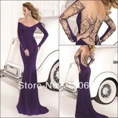 Sexy New Arrival 2014 Mermaid Off Shoulder Long Sleeve Embroidery Beaded Purple Long Prom Party Dress Evening Gown By Tarik Ediz