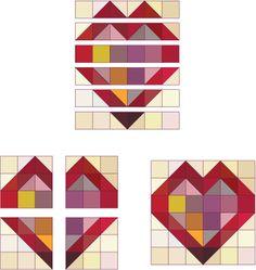 12 1/2 inch basket quilt block patterns | Assemble the Double Hearts quilt block.