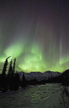 ✮ Aurora borealis over the Wheaton River, Yukon