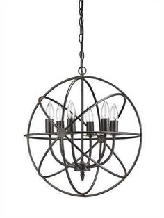 """Orb 6 Light Chandelier 18-1/2"""" ROUND METAL CHANDELIER W/ 6 LIGHTS (25 WATT BULB MAXIMUM, UL LISTED) This item is shipped within 5 to 7 business days"""