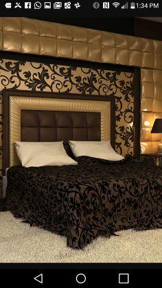 Curtains in black gold scroll. Cushion to match Bed Headboard Design, Bed Frame Design, Bedroom Furniture Design, Modern Bedroom Design, Home Room Design, Master Bedroom Design, Bed Furniture, Bedroom Decor, Bedroom False Ceiling Design