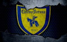 Scarica sfondi Chievo, 4k, art, Serie A, soccer, AC Chievo Verona, logo, football club, Chievo FC, metal texture