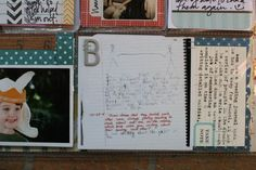 staple letters of family member/pet names onto journaling cards.  or use #'s that represent the # of people in the photo, the age, jersey #, etc.