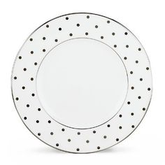 """Kate Spade Larabee Road Platinum 9"""" Accent Plate by Lenox. $35.00. Kate Spade Artistry, Lenox Craftsmanship. Two iconic brands, one exceptional product line.. In this kate spade place setting, platinum polka dots sparkle against white-bodied china. Diameter of dinner plate: 10 3/4, salad/dessert: 8"""", bread/butter: 6 1/3"""", saucer: 5 1/2""""; capacity of cup: 7 oz.. Made in the USA by Lenox. Dishwasher-safe. Crafted of Lenox bone china accented with precious platinum..."""