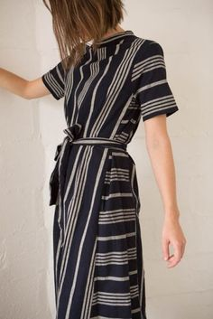 Office look   Ribbon belted striped dress