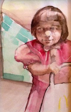 Watercolor paonting for my dad for christmas. Based on a childhood photo of my little sister. 2013