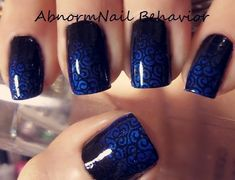 Original Art by AbnormNail Behavior.  China Glaze Liquid Leather, China Glaze ~ Splish Splash, and Konad ~ Special Black. Plate: BM-201