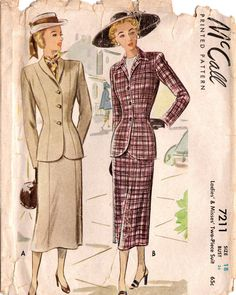 1940s McCall 7211 Vintage Sewing Pattern Misses tuta in due pezzi taglia 18 Busto 36