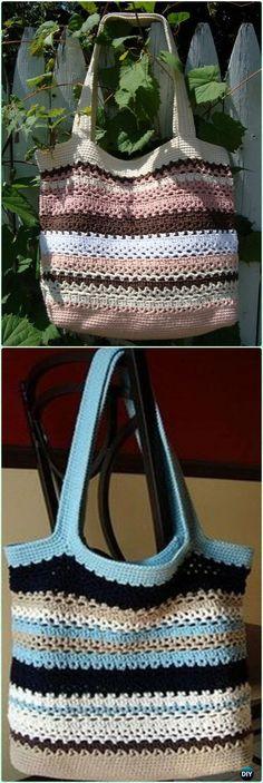 Crochet Lacy V Shopping Bag Free Pattern - Crochet Handbag Free Patterns Instructions