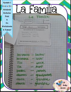 This interactive notebook set includes: La familia - The Family - foldable, file book, & pocket using new family vocabulary, articles, and adjectives -includes anchor chart, full size pictures, instructions, games, and extra credit challenges.$ Spanish For Dummies, Spanish Lessons For Kids, Study Spanish, Spanish 1, How To Speak Spanish, Spanish Language School, Learning A Second Language, Learn A New Language, Spanish Interactive Notebook