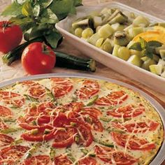 Zucchini Crust Pizza Recipe from Taste of Home -- shared by Ruth Denomme of Englehart, Ontario