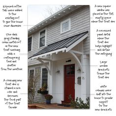 Awning & door upgrade ~ before & after ~ Molly Frey Design: Project Details: Front Entry Facelift - barn Exterior House Colors, Exterior Paint, Exterior Design, Colonial Exterior, Garage Exterior, Metal Shed Roof, Door Overhang, Exposed Rafters, Pergola