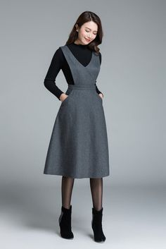 Midi wool dress knee length dress dark grey dress dress with pockets high waisted dress casual dress winter dress for woman 1645