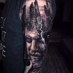 Black & Gray Realism Arm Tattoo Greatest Image For arm tattoos for ladies forearm small For Your Style You're in search. Half Sleeve Tattoos Forearm, Skull Sleeve Tattoos, Body Art Tattoos, Hand Tattoos, Cool Tattoos, Tattoo Arm, Tattoo Casal, Norse Mythology Tattoo, Scandinavian Tattoo