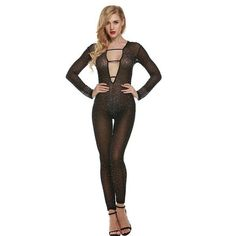 34c5c205974 Sexy Women Lace Mesh Play-Suit Jumpsuit Romper With Diamonds
