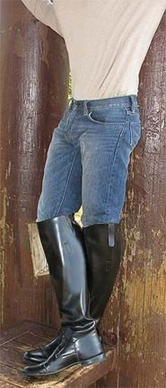 Bluejeans in high black boots. Sexy Boots, Tall Boots, Men's Boots, Cowboy Boots, Equestrian Style, Equestrian Fashion, Crotch Shots, Black High Boots, Mens Boots Fashion