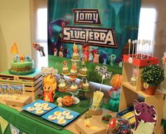 Cool dessert table at a Slugterra boy birthday party! See more party planning ideas at CatchMyParty.com!