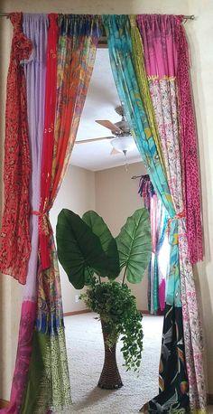 Boho Curtains Scarf Curtains Boho Door Curtains Gypsy Curtains Hippie Closet Door Curtains Bohemian Curtains Shabby Chic