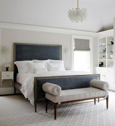 gray walls with purple accents bedroom | Gray bedroom with blue velvet headboard | Bedrooms by DaisyCombridge