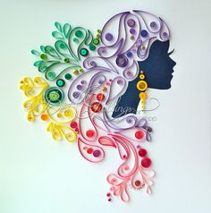 "Quilling Art: ""Graceful Dame"" Charismatic Lady Colourful Paper Art Wall Art and Deco (107.78 GBP) by BestQuillings"