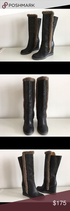 """SEE BY CHLOE BLACK LEATHER WEDGE TALL BOOTS, SZ 35 SEE BY CHLOE BLACK LEATHER WEDGE TALL BOOTS, SIZE 35,  WEDGE HEEL 3.5"""", SHAFT 11"""", CIRCUMFERENCE 13"""", """", PLATFORM 0.75"""", LEATHER AND LINING, RUBBER SOLE, BRAND NEW WITHOUT BOX See by Chloe Shoes Ankle Boots & Booties"""