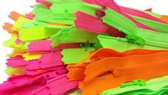 Sale 4 YKK Zippers 3 Skirt  Dress Nylon Coil Special Bright Neon Colors Neon Green Neon Yellow Neon Pink and Neon Orange 80 Zippers  Pack *** Check out this great product.