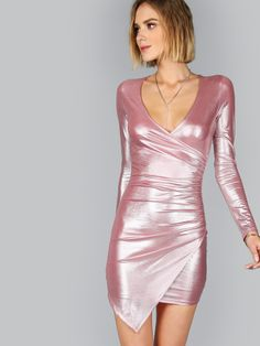 Metallic Pink Ruched Surplice Wrap Asymmetric Dress